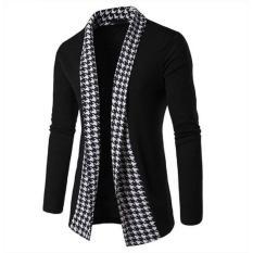 Áo khoác cardigan nam form dài phối caro