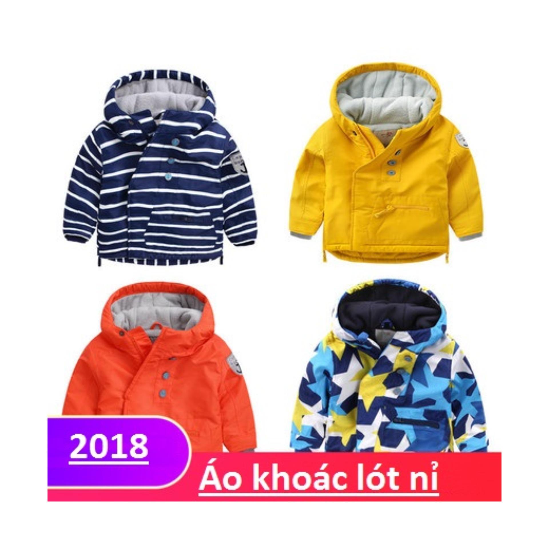 Áo Khoác cho bé trai kiểu dáng 2018 (Mầu xanh kèm sọc ngang)
