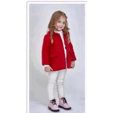 Aó khoác dạ đỏ bé gái
