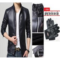 Áo khoác da nam hàn quốc lót lông AKD1180 (đen) + găng tay da cao cấp