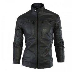 Áo khoác da nam lót lông AK75 (Đen)