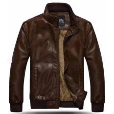 Áo khoác da nam lót lông NÂU Model fashion AKN122