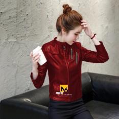 Áo Khoác Da Nữ Đỏ Riley Phối Dây Kéo Túi Cao Cấp – DN16