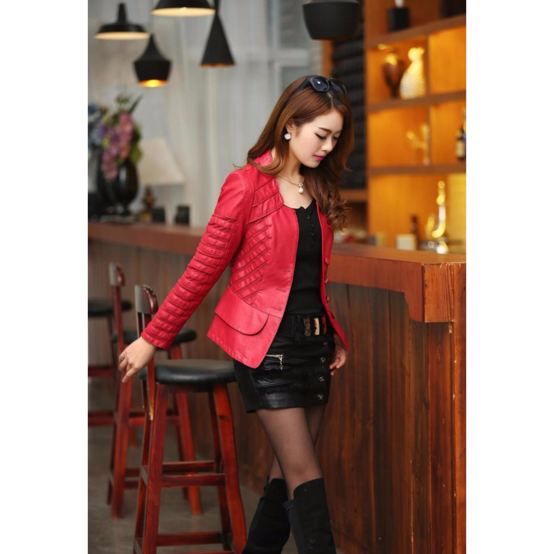 Áo khoác da nữ IT402 (Đỏ)