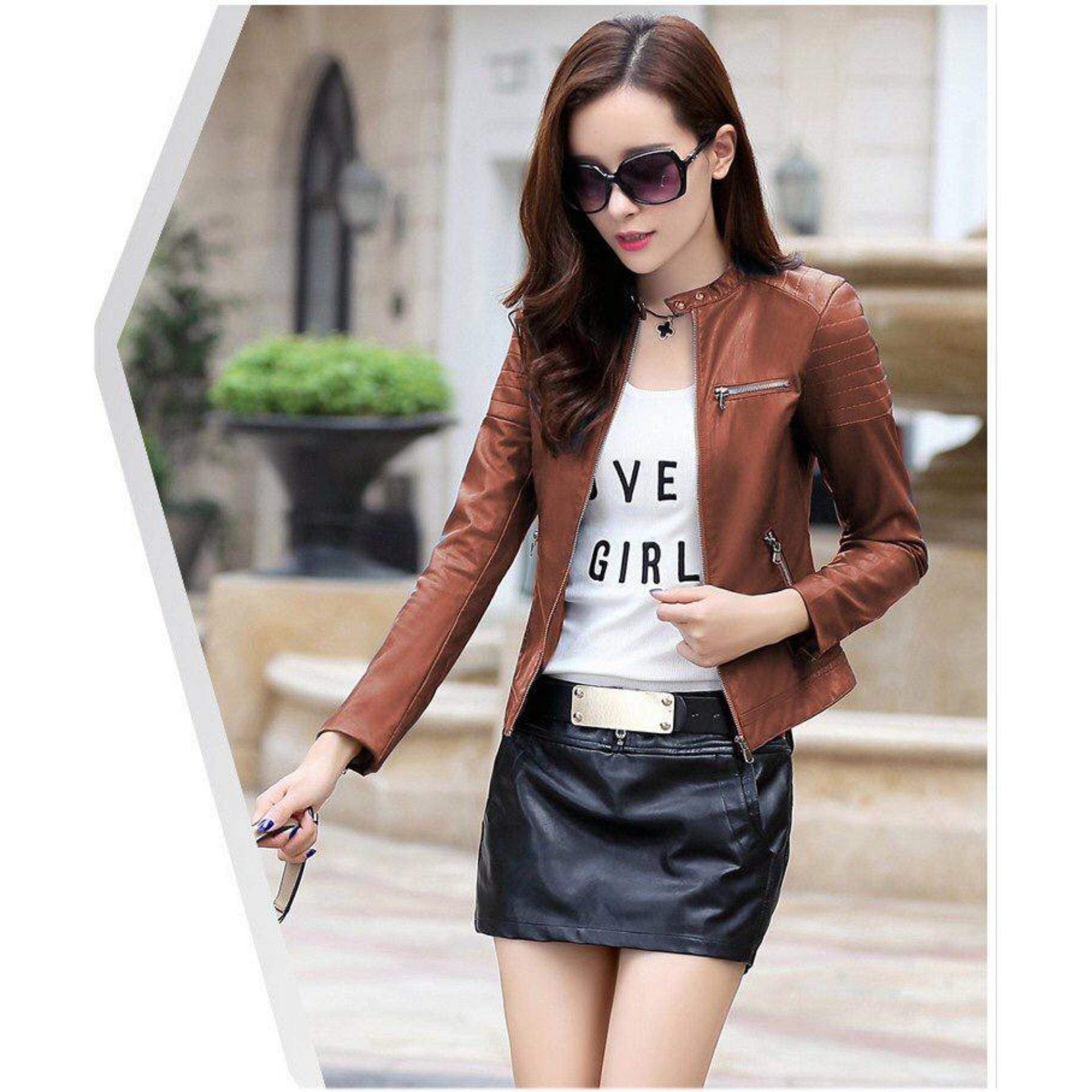 Áo khoác da nữ xuất khẩu cổ gài cao cấp cực đẹp