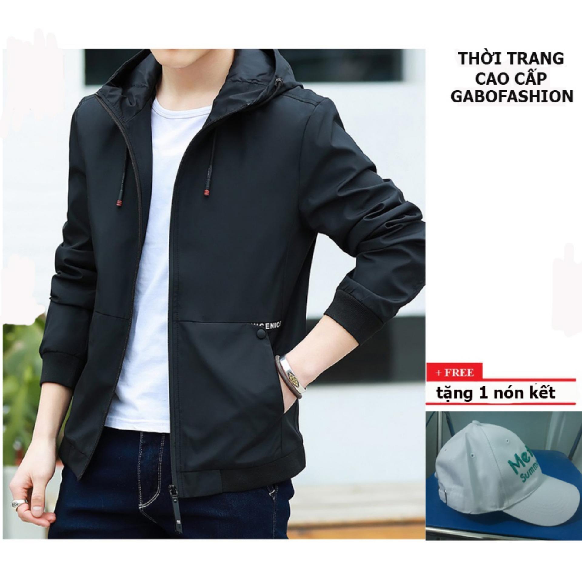 Áo khoác dù nam có nón AKD119 (đen) + Tặng 1 nón kết nam cao cấp
