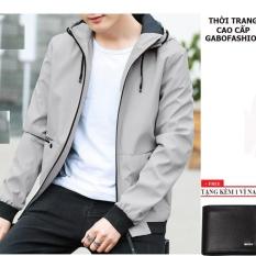 Áo khoác dù nam có nón AKD119 (xám) + ví nam cao cấp