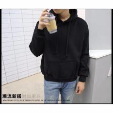 Áo Khoác hoodie chùm đầu trơn ERIK (đen) B015