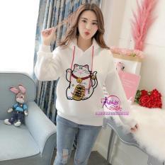 Áo khoác hoodie Hevi thời trang nữ mèo thần tài (nhiều màu)