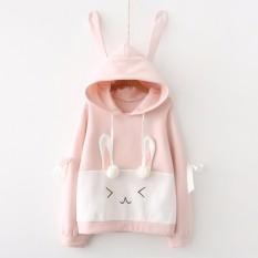 Áo khoác hoodie nữ tay dài tai thỏ LTTA495 (Hồng trắng) BEAUTYSALES