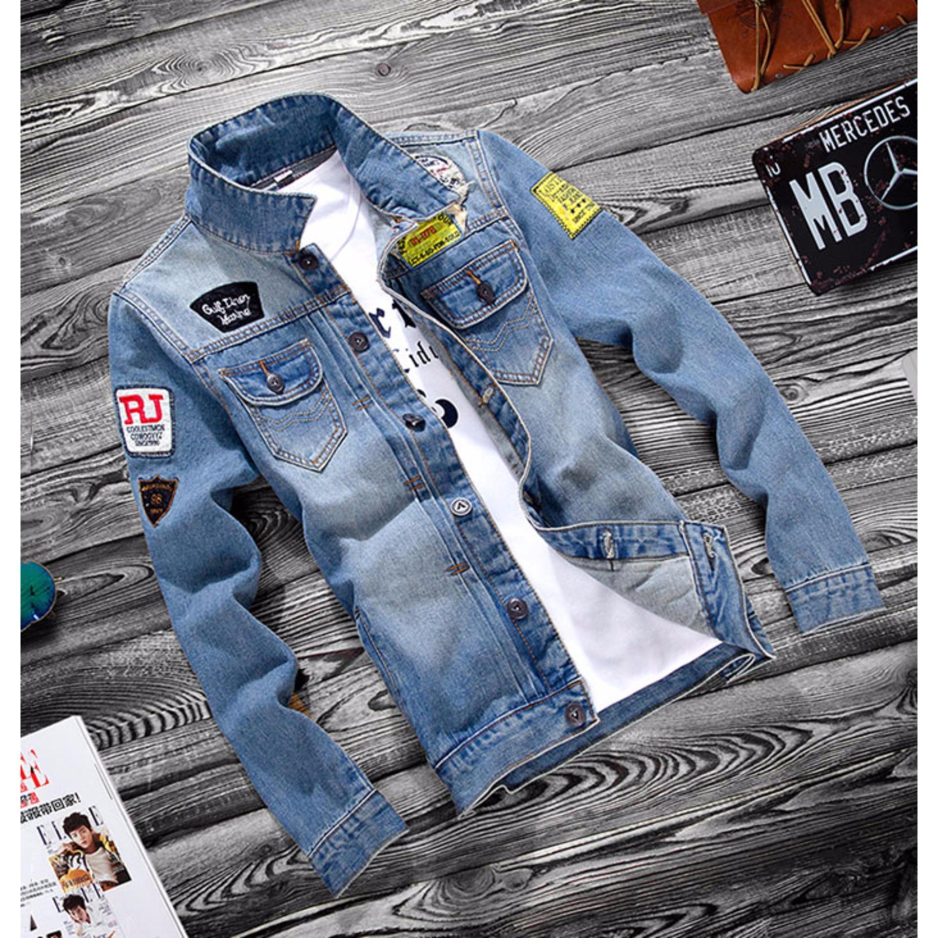 Áo khoác Jean nam logo ngực túi đắp Thoitrangkm