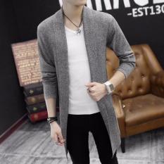 Áo khoác len cardigan dáng dài màu xám CG02X