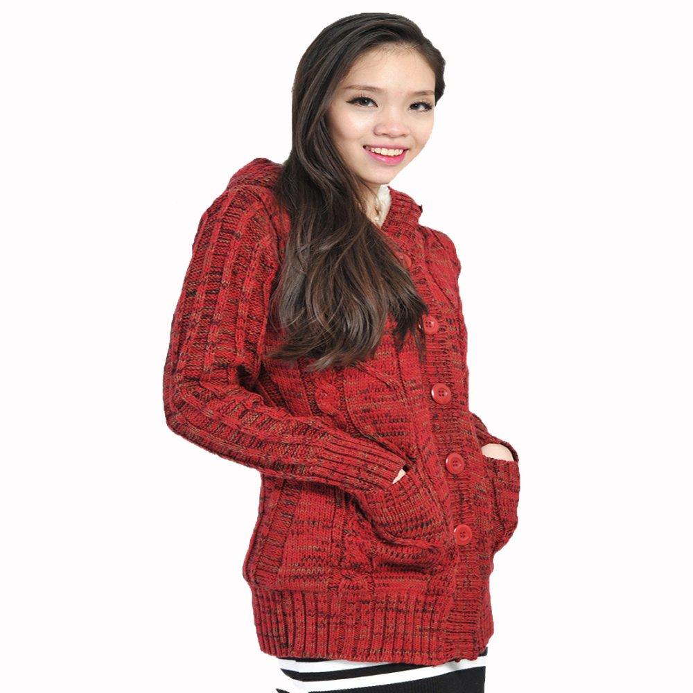 Áo khoác len dáng dài lót lông cài cúc HQLens (Đỏ)