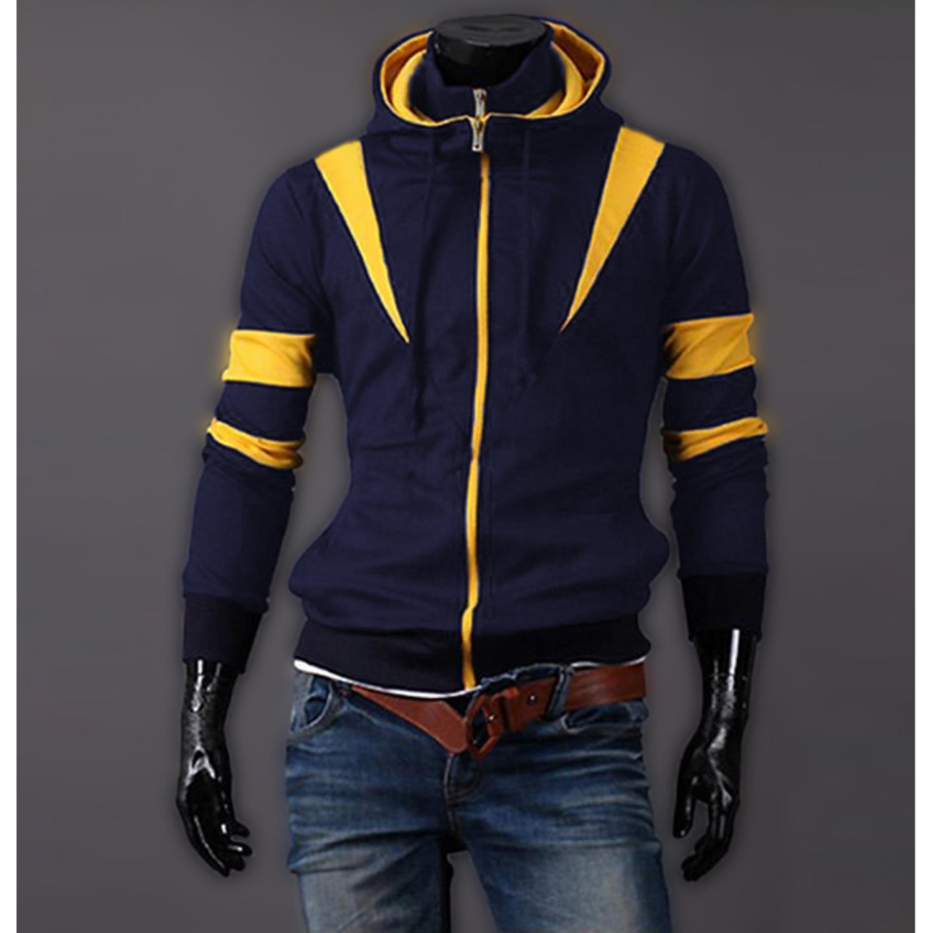 Áo khoác nam 2 dây kéo phối màu