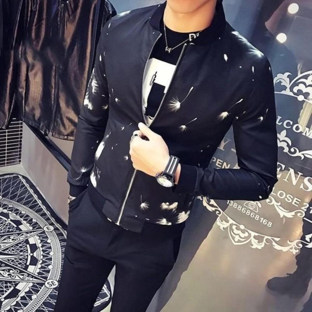 áo khoác nam bomber kaki 2 lớp đen (hoa cọ)