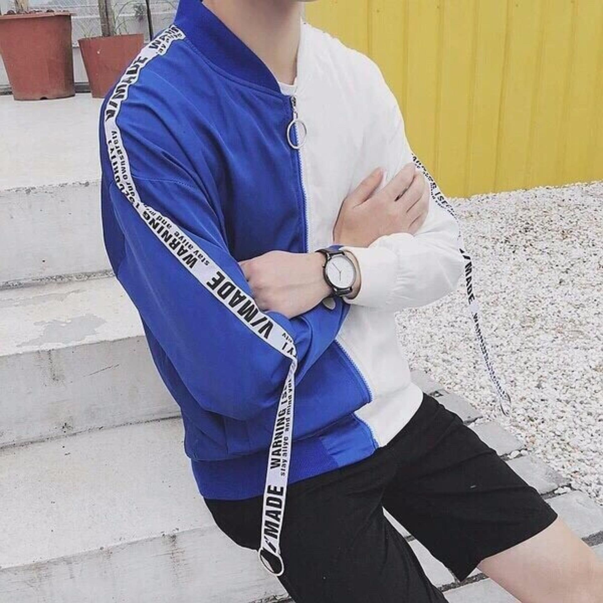 Áo khoác nam nữ cao cấp phối 2 màu cực chất B063(xanh trắng)