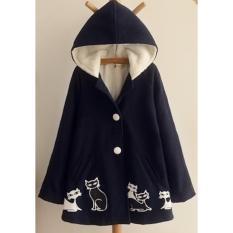 Áo khoác nữ thu đông form dài có nón trùm hình mèo LTTA465 (Xanh) BEAUTYSALES