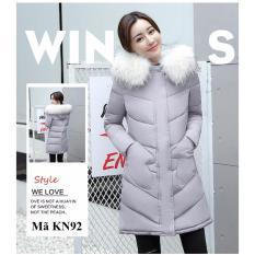 Áo khoác phao nữ dáng dài cổ lông Family Shop KN92 (Xám)