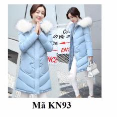 Áo khoác phao nữ dáng dài cổ lông Family Shop KN93 (Xanh nhạt)