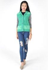 Áo len gile nữ có mũ đắp lông 4 mảnh HQLens-XN (Xanh)