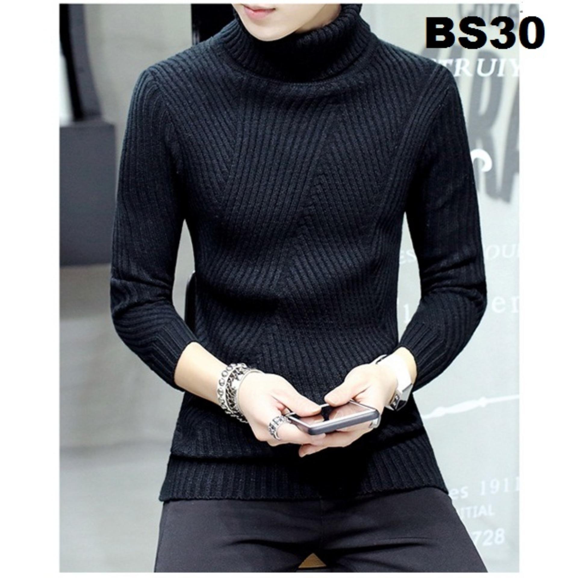 Áo len nam cổ lọ loại dày BS30 (Đen)