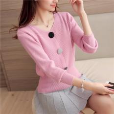 Áo Len Nữ 3 Cúc thời trang Đà Lạt 24H ( hồng phấn )