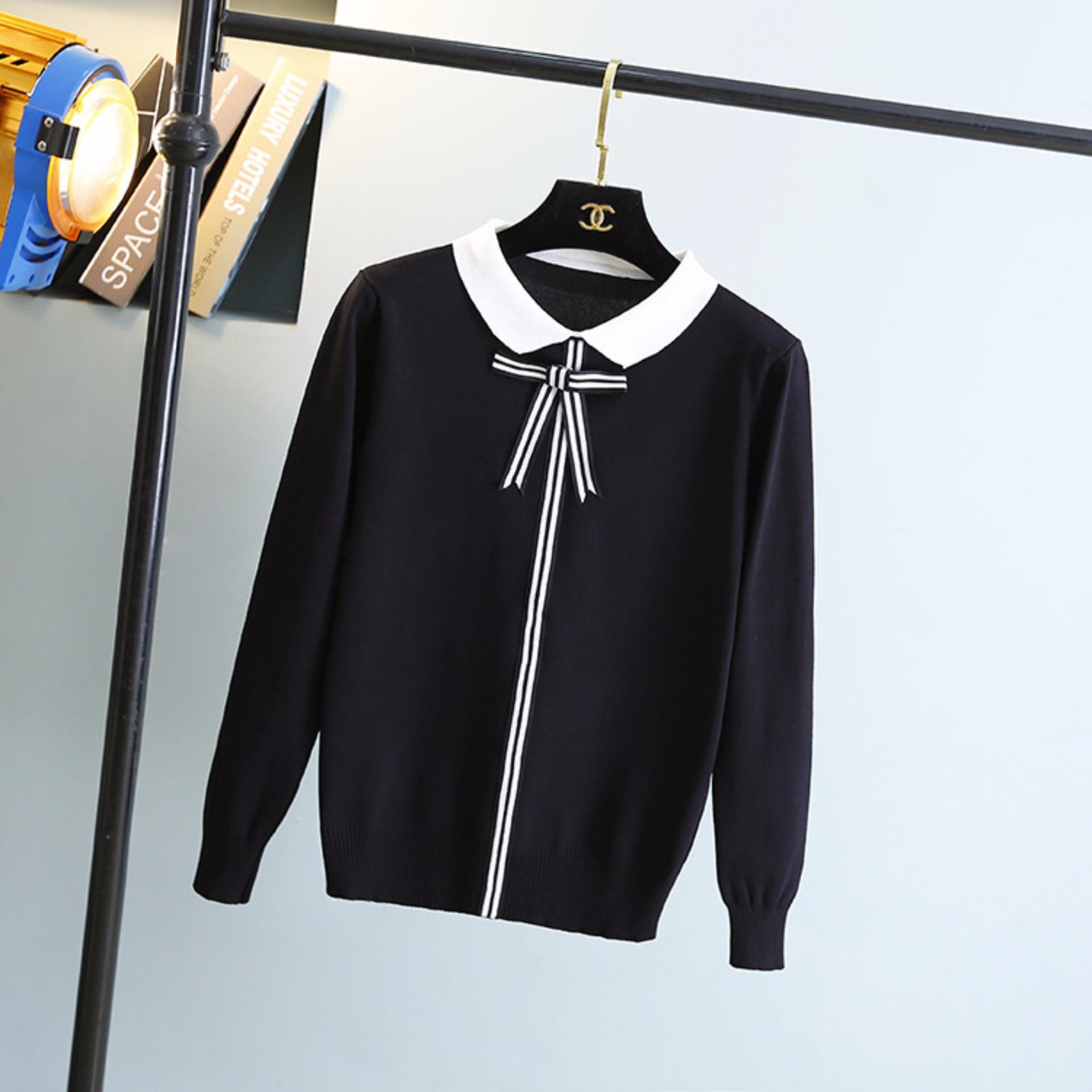 Áo len nữ cao cấp đính nơ Violet ( đen viền trắng )