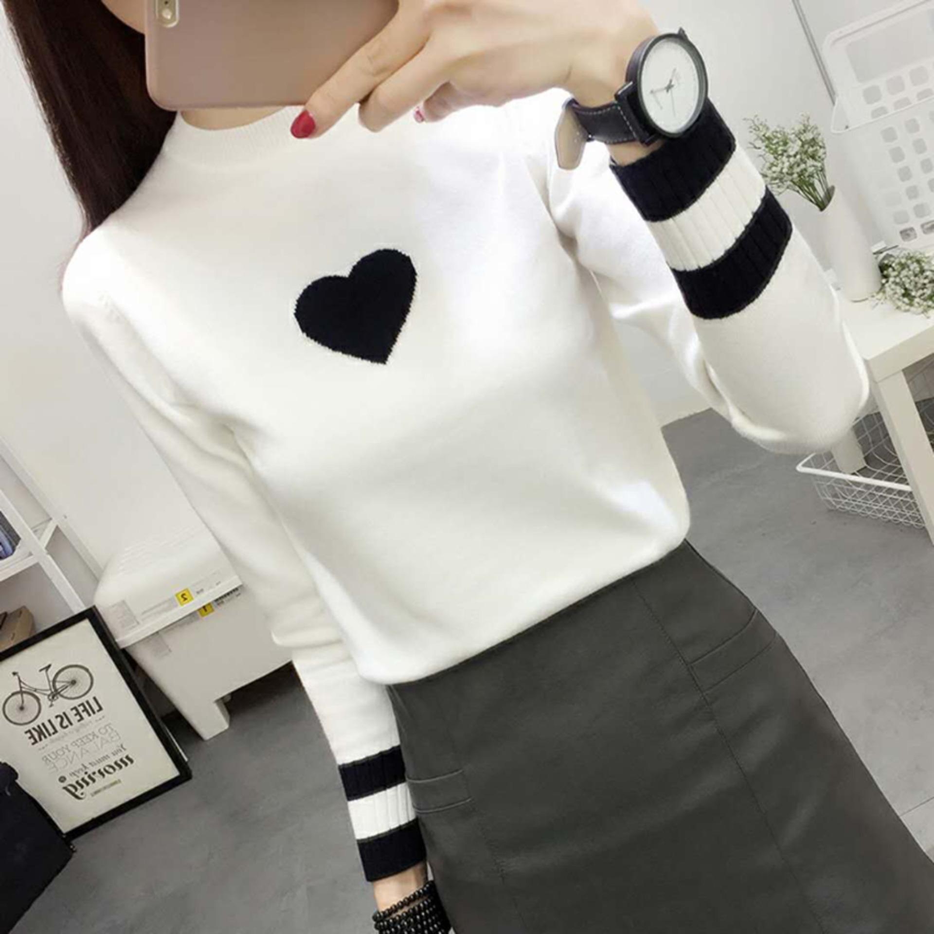 (shop thanh lý toàn bộ mặt hàng) áo len nữ chui đầu dài tay hình tâm dễ thương mùa thu đông-trắng-city fashion 0432