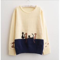 Áo len nữ tay dài hình thêu hình mèo LTTA497 BEAUTYSALES