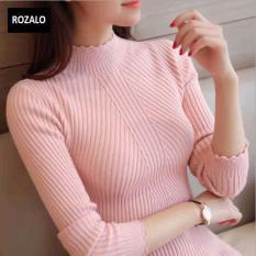 Áo len thu đông nữ dài tay cổ lọ Rozalo RW2181P-Hồng