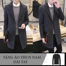 Áo khoác dạ dáng dài nam tặng kèm áo thun dài tay ZAVANS (Xám)