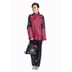 Áo mưa bộ Sơn Thủy chất liệu mới (vải tráng 6 lớp nhựa PU) màu đỏ đậm K23B