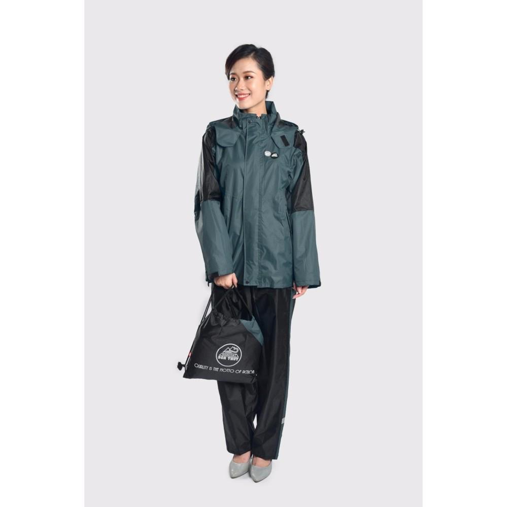 Áo mưa bộ Sơn Thủy chất liệu mới (vải tráng 6 lớp nhựa PU) màu xám K23D