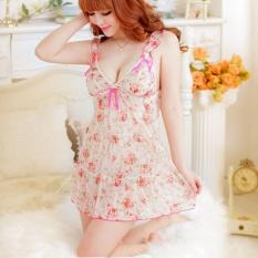 Áo ngủ voan hoa trắng hồng CDAN41 Chodeal24h