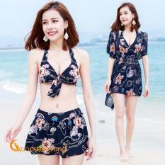 Áo tắm đi biển cao cấp đồ bơi ba mảnh màu xanh đen GLSWIM009