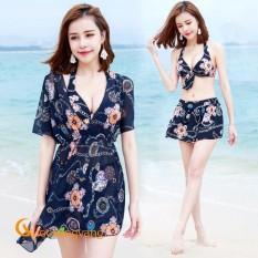 Áo tắm đi biển đồ bơi ba mảnh màu xanh đen GLSWIM009