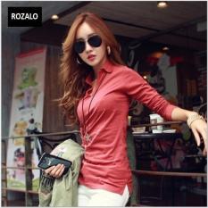 Áo thun nữ Hàn quốc có cổ dài tay Rozalo RW2348MG - Màu Gạch