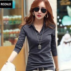 Áo thun nữ Hàn quốc có cổ dài tay Rozalo RW2348MX - Màu Xám