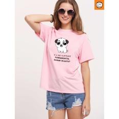Áo thun nữ hồng in hình cún mặt buồn form rộng hàn quốc vải dày mịn AoK353 EVEREST