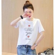 Áo thun nữ in chữ love you vải dày mịn AoK1599