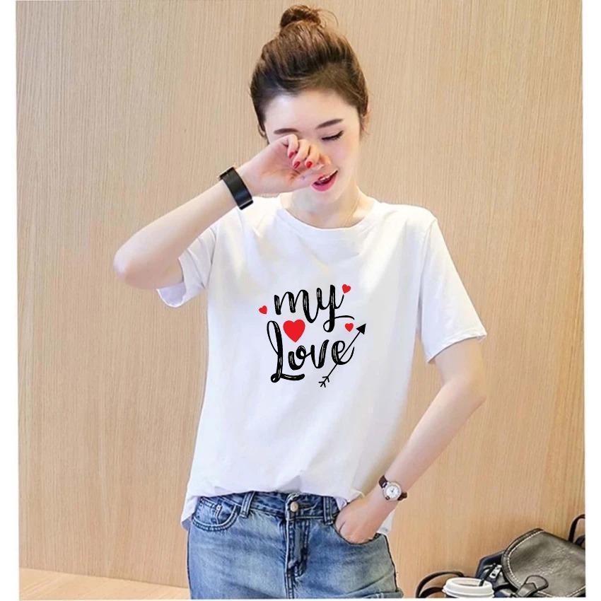 Áo thun nữ in chữ my love vải dày mịn AoK1578