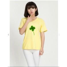Áo thun nữ in hình cỏ ba lá may mắn form rộng hàn quốc vải dày mịn AoK1562