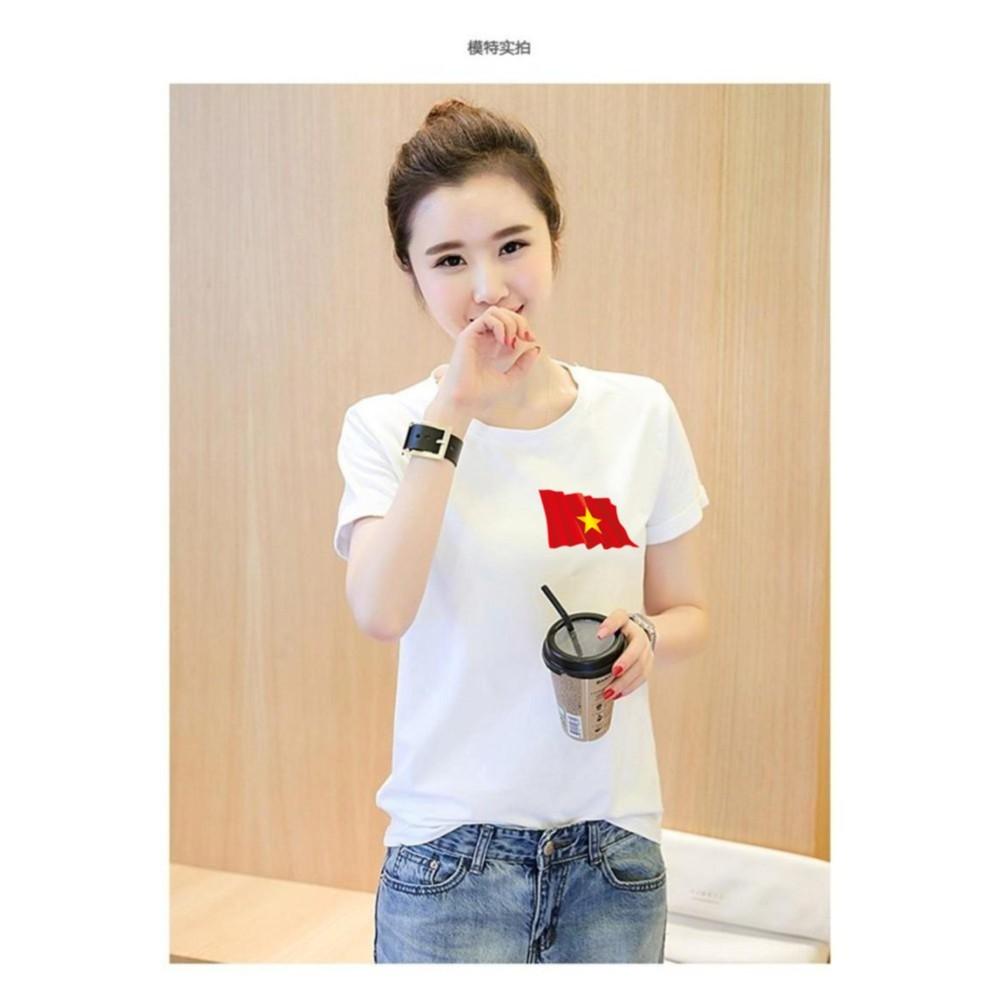 Áo thun nữ in hình cờ Việt Nam bay mây form rộng hàn quốc vải dày mịn AoK1575