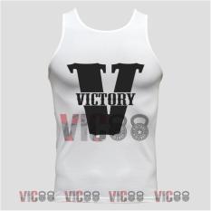 Áo Thun Nam Body Cao Cấp Cổ Tròn Đẹp Tank Top Hình Chữ Victory Màu Trắng Size M