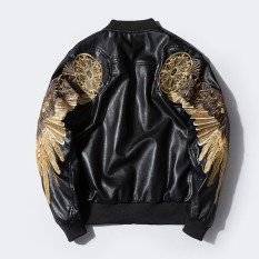 Autumn and Winter PU Jacket, Tide Brand Harajuku Embroidery Wings Motorcycle Baseball Uniform, Young Men and Women Couples Coat Jacket – intl