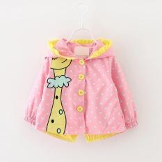 autumn Kids girls coats clothing Baby girls fashion cartoon dots hooded trench coat 1-3 years – intl