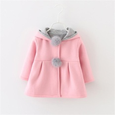 Autumn Winter Warm Kid Girls Coats Cute Cartoon Rabbit Ear Hooded Long Sleeve Children Outerwear Kids Jackets Coats – intl