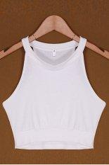 AZONE Thời Trang nữ Không Tay Cổ Tròn Ôm Áo Thể Thao Áo Vest Xe Tăng Crop Top (Trắng)-quốc tế