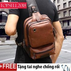 Balo da đeo chéo cho nam cá tính Hàn Quốc KB-DN01 size to Tặng tai nghe Ripper ( Nâu )