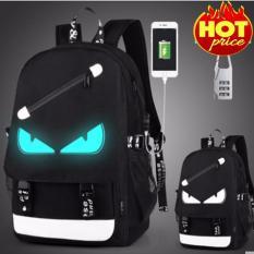 Balo Nam Thời Trang, Mắt Dạ Quang Phát Sáng Có Sạc USB, Khóa Số Chống Trộm